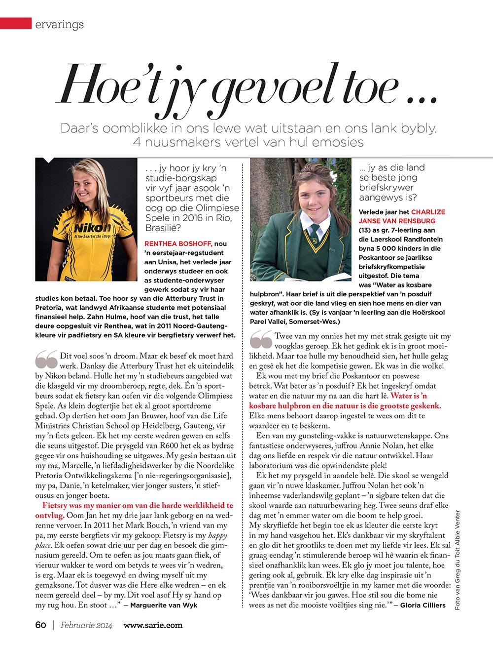 Sarie Feb 2014 artikel